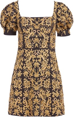 Alice + Olivia Kristian Embroidered Mini Dress