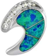 Sabrina Silver Sterling Silver C Shape Pendant Synthetic Opal Inlay Cubic Zirconia Accent, 11/16 inch Wide