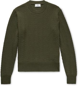 Ami Slim-Fit Herringbone Wool Sweater
