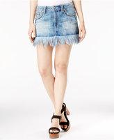 Miss Me Fringe Denim Mini Skirt