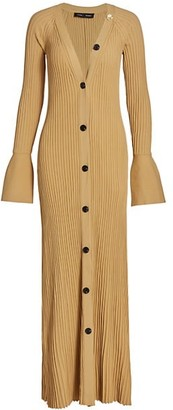 Proenza Schouler Midweight Ribbed Button Front Knit Maxi Dress