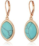 Nine West Rose Gold-Tone and Turquoise Drop Earrings