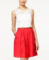 BCX Juniors Lace Belted A-Line Dress
