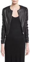The Row Razna Leather Ruched-Sleeve Jacket, Black