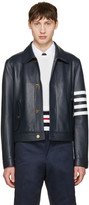 Thom Browne Navy Leather Harrington Jacket