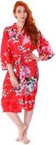 Simplicity Women's Satin Kimono Short Robe,Peacock Blossom Print
