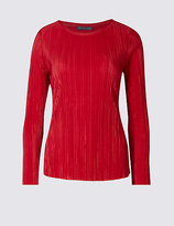 M&S Collection PETITE Crinkle Long Sleeve T-Shirt