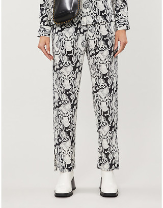 See by Chloe Abstract-print mid-rise woven trousers