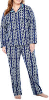 Liz Claiborne Notch Collar Flannel Pant Pajama Set
