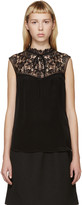 Erdem Black Silk and Lace Julisa Tank Top