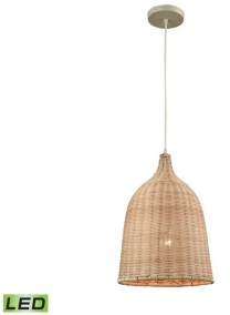 Russet Pleasant Fields 1 Light Pendant with Beige Hardware and Natural Wicker Shade
