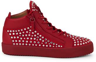 Giuseppe Zanotti Studded Leather & Suede Mid-Top Sneakers