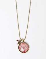 Gypsy Rose Pendant with Ruby Bead & Fine Leaf Charm