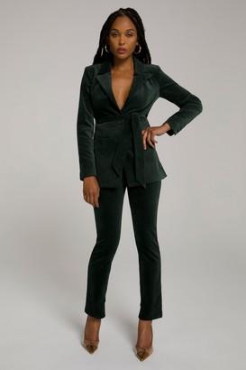 Good American Velvet Suit Pant | Emerald001