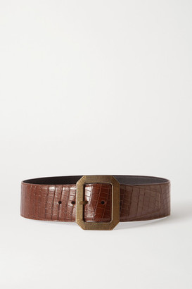 Saint Laurent Croc-effect Leather Waist Belt - Brown