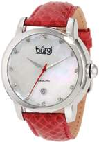 Burgi Women's BU14R Round Swiss Quartz Diamond Date Strap Watch