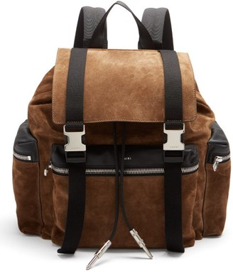 Amiri Canvas-trimmed Suede Backpack - Brown