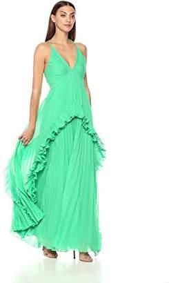 Halston Women's Sleeveless Halter V Neck Pleated Gown