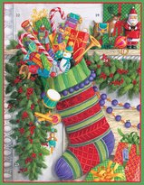 Caspari Entertaining Stocking Flat Advent Calendar with 3-D Moving Applique, 1-Count