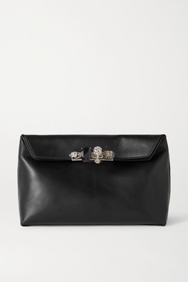 Alexander McQueen Four Ring Embellished Leather Pouch - Black