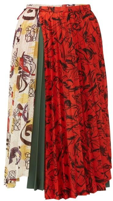 Toga Contrast Print Pleated Midi Skirt - Womens - Ivory
