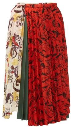 Toga Contrast-print Pleated Midi Skirt - Ivory