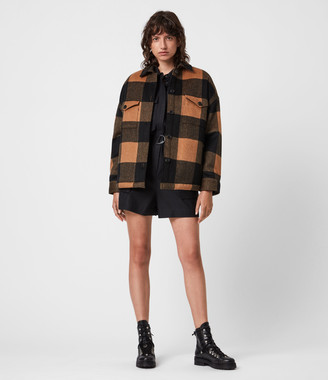 AllSaints Luella Wool Blend Sherpa-Lined Check Jacket
