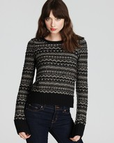 Juicy Couture Sweater - Metallic Fair Isle Long Sleeve Crew Neck Pullover
