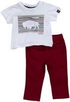 Buffalo 2 Piece Twill Pant Set (Baby) - White-12 Months
