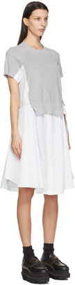 Sacai Grey & White Knit Panel Dress