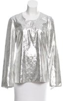 Tory Burch Metallic Silk Top