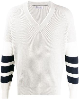 Brunello Cucinelli striped-sleeves V-neck jumper