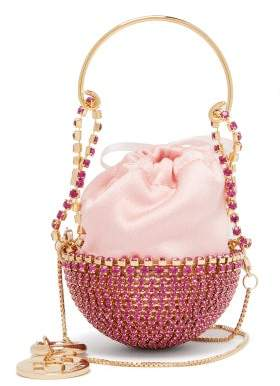 Rosantica Baby Ghizlan Mini Crystal-embellished Satin Bag - Womens - Pink