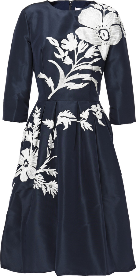 Carolina Herrera Flared Embellished Silk-taffeta Dress