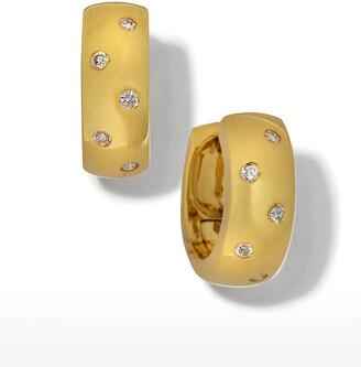 Roberto Coin 18k White Gold Diamond Huggie Hoop Earrings