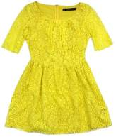 Patterson J. Kincaid Yellow Lace Cotton Blend Dress