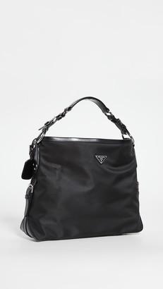 What Goes Around Comes Around Prada Black Nylon Hobo Bag