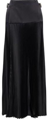 Alexandre Vauthier Buckled Pleated Silk-blend Satin Maxi Wrap Skirt