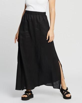 AERE - Women's Black Maxi skirts - Split Maxi Skirt - Size 6 at The Iconic