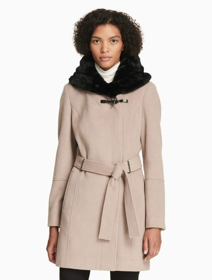 Calvin Klein luxe faux fur collar belted coat