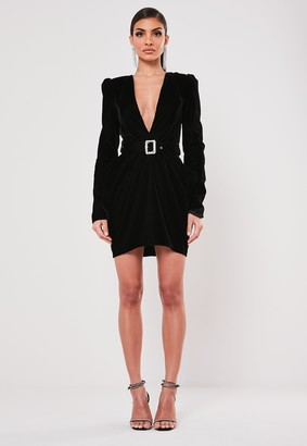 Missguided Black Velvet Plunge Belted Mini Dress