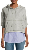 3.1 Phillip Lim French Terry & Striped Poplin Hooded Sweatshirt, Gray