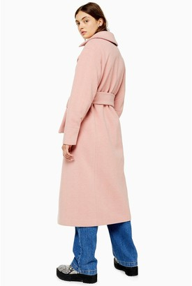 Topshop Belted Trench Coat - Pink