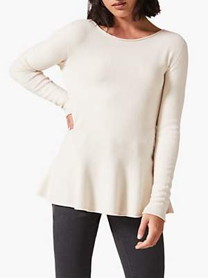Phase Eight Pam Peplum Knitted Jumper, Ivory
