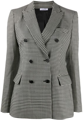 P.A.R.O.S.H. Gingham-Print Double-Breasted Blazer