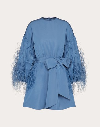 Valentino Feather Embroidery Dress In Micro Faille Women Blue Polyester 46% 38