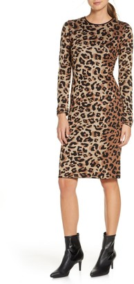 Vince Camuto Mock Neck Leopard Print Dress