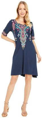 Johnny Was Kris Knit Swing Dress (Ink) Women's Clothing