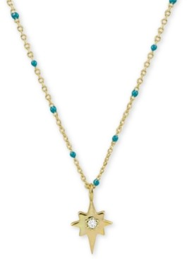 "Argentovivo Cubic Zirconia & Enamel Starburst 18"" Pendant Necklace in 18k Gold-Plated Sterling Silver"