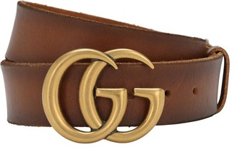 Gucci 4cm Gg Gold Buckle Leather Belt